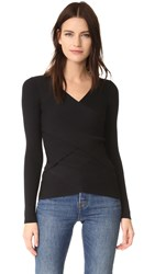 Bailey 44 Reversible Ribbed Crossover Sweater Black