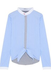 Bailey 44 Homeostasis Knotted Striped Cotton Blend Shirt Sky Blue