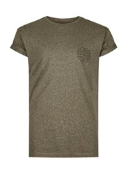 Topman Green Khaki Chest Print Muscle Fit Roller Sleeve T Shirt