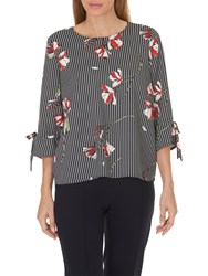 Betty And Co. Floral Blouse Dark Blue Cream