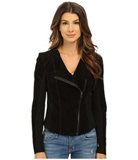 Blank Nyc Suede Moto Knit Jacket Black Women's Coat