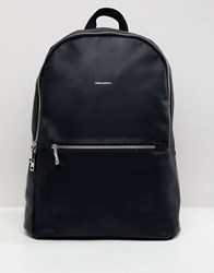 Asos Design Backpack In Faux Leather In Black With Silver Zips And Foil Emboss