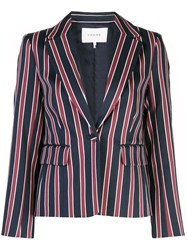 Frame Single Breasted Striped Blazer Blue