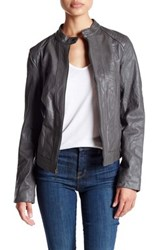 Cole Haan Genuine Leather Racer Jacket Gray