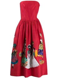 Stella Jean Strapless Embellished Skirt Dress Red
