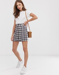 Mango Button Front Gingham Skirt In Multi