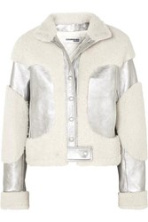 Courreges Metallic Leather And Shearling Jacket Silver