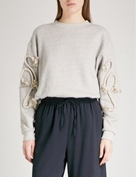 See By Chloe Rope Detail Cotton Blend Sweatshirt Drizzle Grey