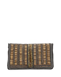 Mary Frances Toughen Up Beaded Clutch Bag Gold Wht
