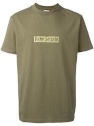 Palm Angels Glitter Logo Print T Shirt Green