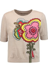 Alice Olivia Embroidered Linen And Cotton Blend Top Taupe