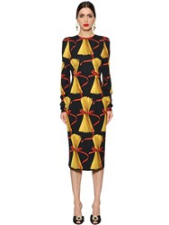Dolce And Gabbana Spaghetti Print Silk Charmeuse Dress