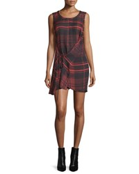Mcq By Alexander Mcqueen Sleeveless Tied Tartan Plaid Mini Dress Red Red Tartan