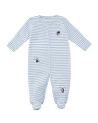 Kissy Kissy Fall Sports Striped Embroidered Footie Playsuit Size Newborn 9M Blue