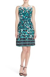 Women's Adrianna Papell Watercolor Print Crepe Fit And Flare Dress
