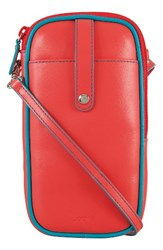 Lodis Mini Audrey Blossom Leather Crossbody Bag Coral Coral Turquoise