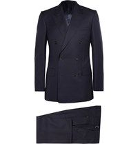 Kingsman Navy Double Breasted Super 120S Wool And Cashmere Blend Suit Blue