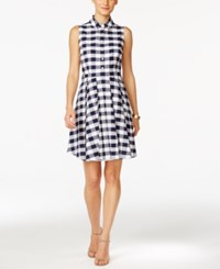 Nine West Gingham Fit And Flare Shirtdress