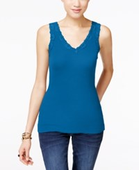 Inc International Concepts Lace Trim Tank Top Only At Macy's Caribe Blue