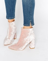 Daisy Street Pink Crushed Velvet Point Heeled Ankle Boots Pink Crushed Velvet
