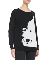 Christopher Fischer Wool Intarsia Knit Wolf Sweater Women's