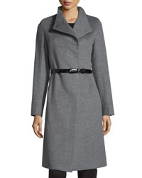 Cinzia Rocca A Line Wool Coat Light Gray Light Grey