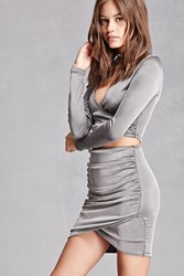 Forever 21 Metallic Sheen Ruched Skirt Silver