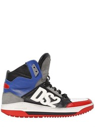 Dsquared Logo Applique Leather High Top Sneakers