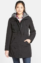Women's Marc New York By Andrew Marc 'Dani' Hooded Bib Front Rain Jacket Black