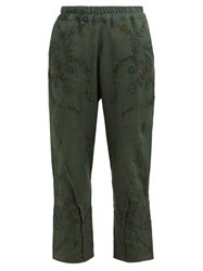 By Walid Reyzi Floral Embroidered Linen Trousers Green