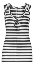 Sandwich Sleeveless Stripe Top Dark Grey