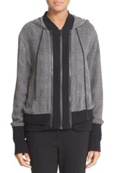 Dkny Double Layer Silk And Cotton Blend Hoodie Gray