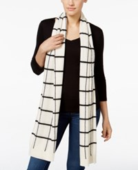 Charter Club Cashmere Windowpane Print Scarf Only At Macy's Ivory Combo
