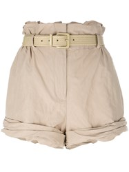Moschino High Waisted Shorts Nude Neutrals