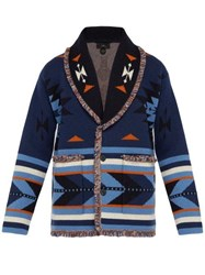 Alanui Native Arrow Jacquard Cashmere Cardigan Blue Multi