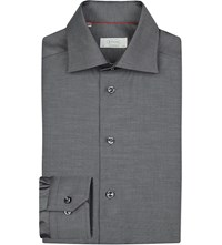 Eton Contemporary Fit Cotton Twill Shirt Grey