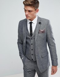 French Connection Semi Plain Donegal Slim Fit Suit Jacket Grey