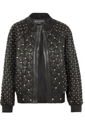 Balmain Studded Quilted Leather Bomber Jacket Black