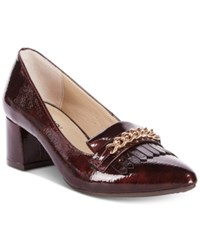 Rialto Marshall Block Heel Dress Pumps Women's Shoes Burgandy