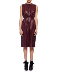 Lanvin Sleeveless Accordion Pleated Leather Dress Burgundy