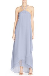 Women's Nouvelle Amsale 'Dakota' High Low Chiffon Halter Gown
