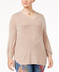 Melissa Mccarthy Seven7 Trendy Plus Size High Low Top Pink
