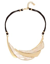 Robert Lee Morris Golden Hour Mother Of Pearl And Leather Cord Necklace