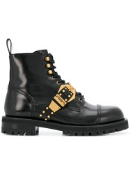 Versace Buckled Ankle Boots Black