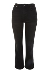 Topshop Moto Dree Cropped Kick Flare Jeans Washed Black