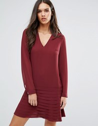 Sisley Mini Dress With Pleated Skirt Red