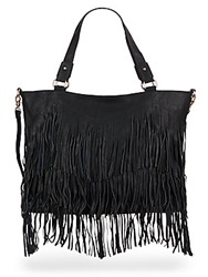 Urban Originals Ziggy Fringe Patent Convertible Tote Black