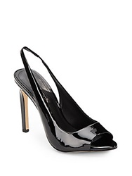 Bcbgeneration Carley Faux Patent Sling Back Peep Toe Pumps