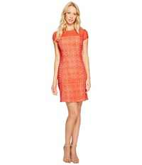 Jessica Simpson Short Sleeve Lace Dress Red