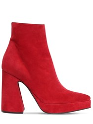 Proenza Schouler 105Mm Suede Platform Ankle Boots Red
